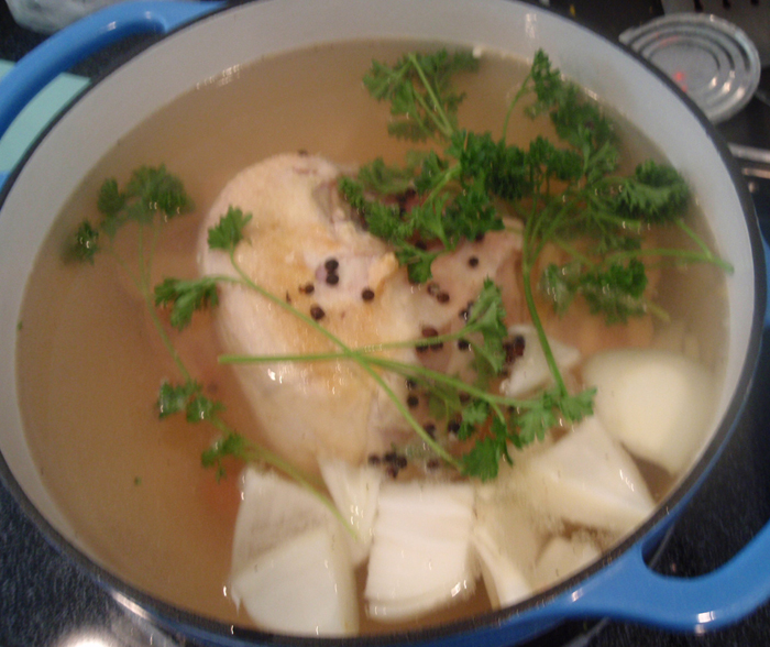Tasteless Chicken stock, yet tasty soup