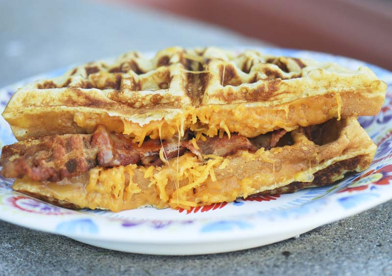 Cheddar and Bacon Cornmeal Waffle Sandwiches
