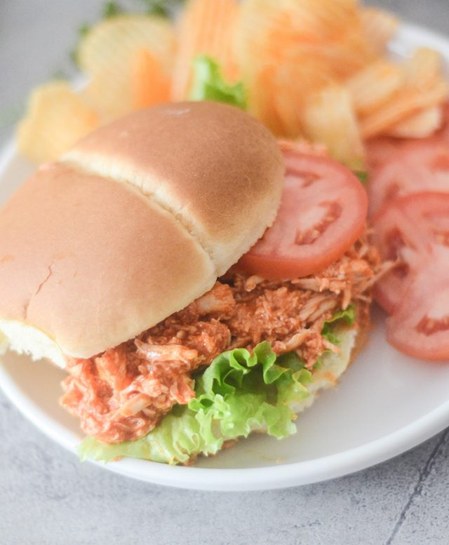 Weight Watcher's Slow Cooker Buffalo Chicken Sandwiches