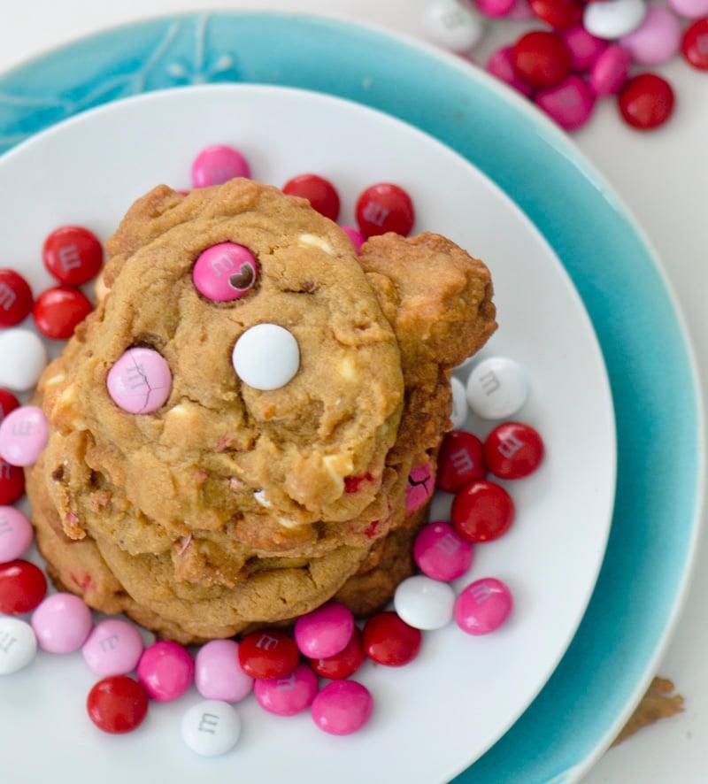 M&M  Valentine's Day Cookies