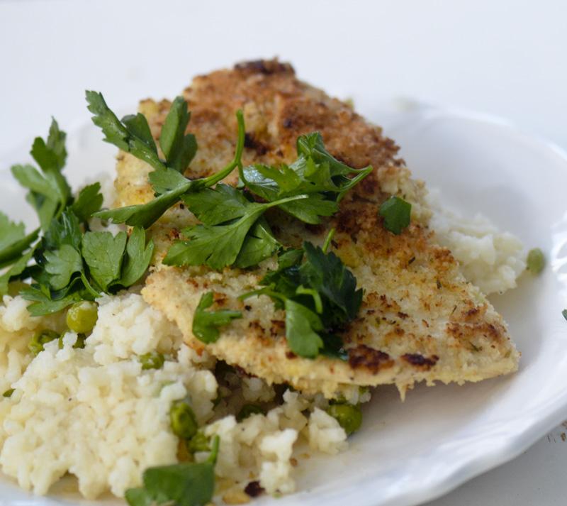 Crispy Chicken with No-stir Lemon Risotto