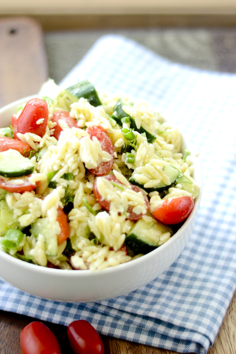 Greek Orzo Salad with Mustard-Dill Vinaigrette Bobby Flay – Recipe ...