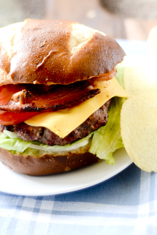 Grilled Burgers on Pretzel Buns 024