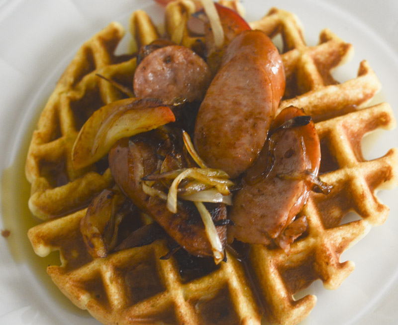 10 herb waffles with sausage peppers and a fried egg herb waffles with ...