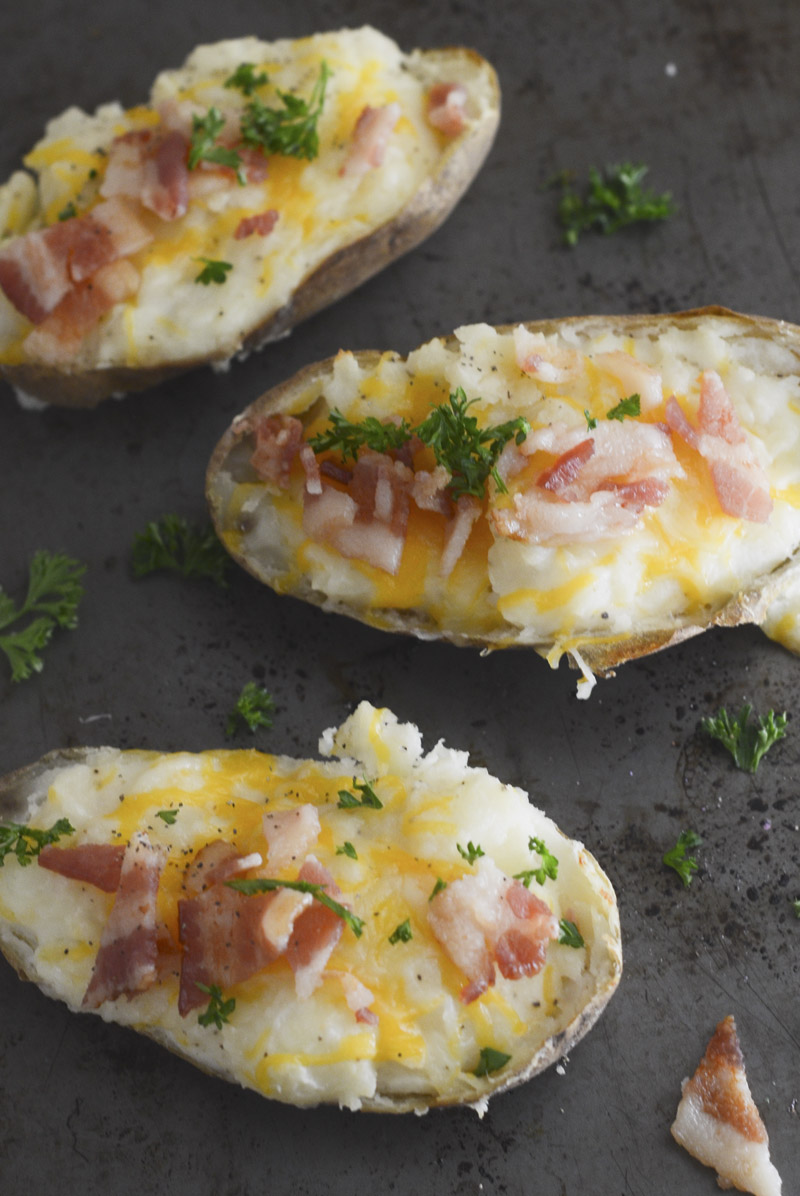 Twice Baked Potatoes with Bacon and Cheddar