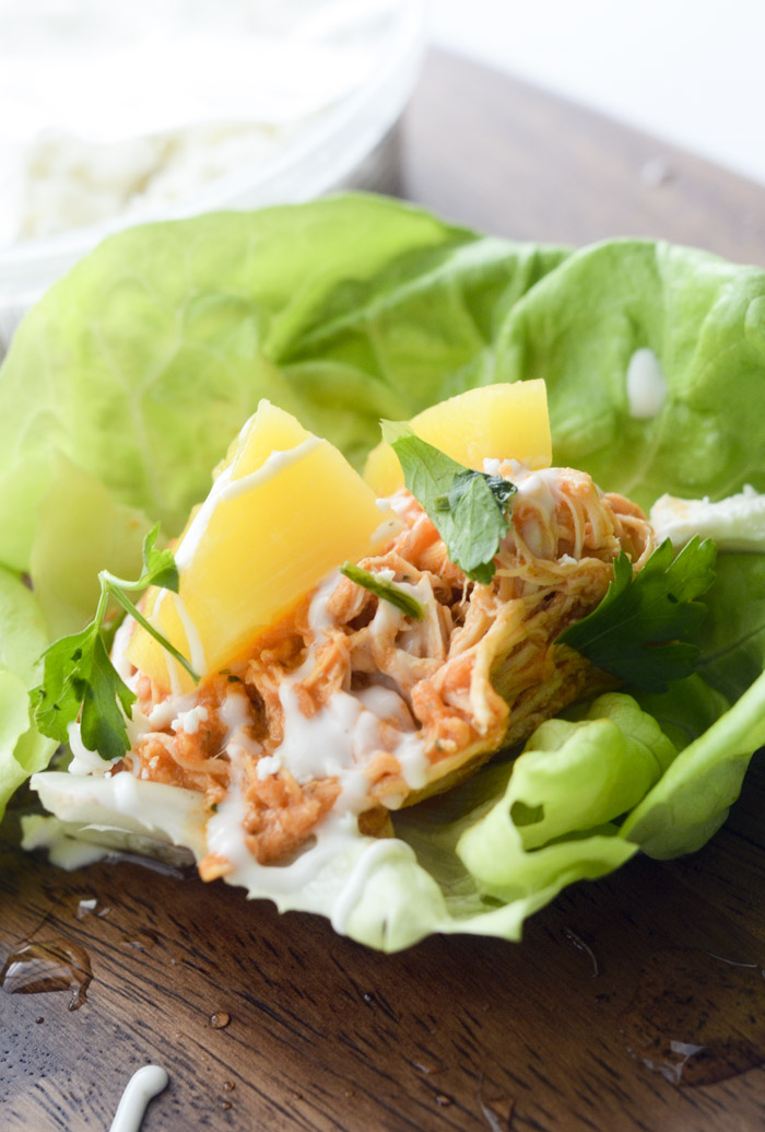 Slow Cooker Buffalo Chicken Lettuce Wraps - Recipe Diaries