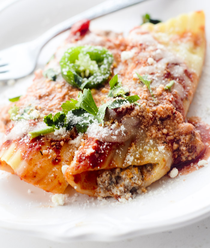 Chorizo and Pepper Jack Stuffed Manicotti