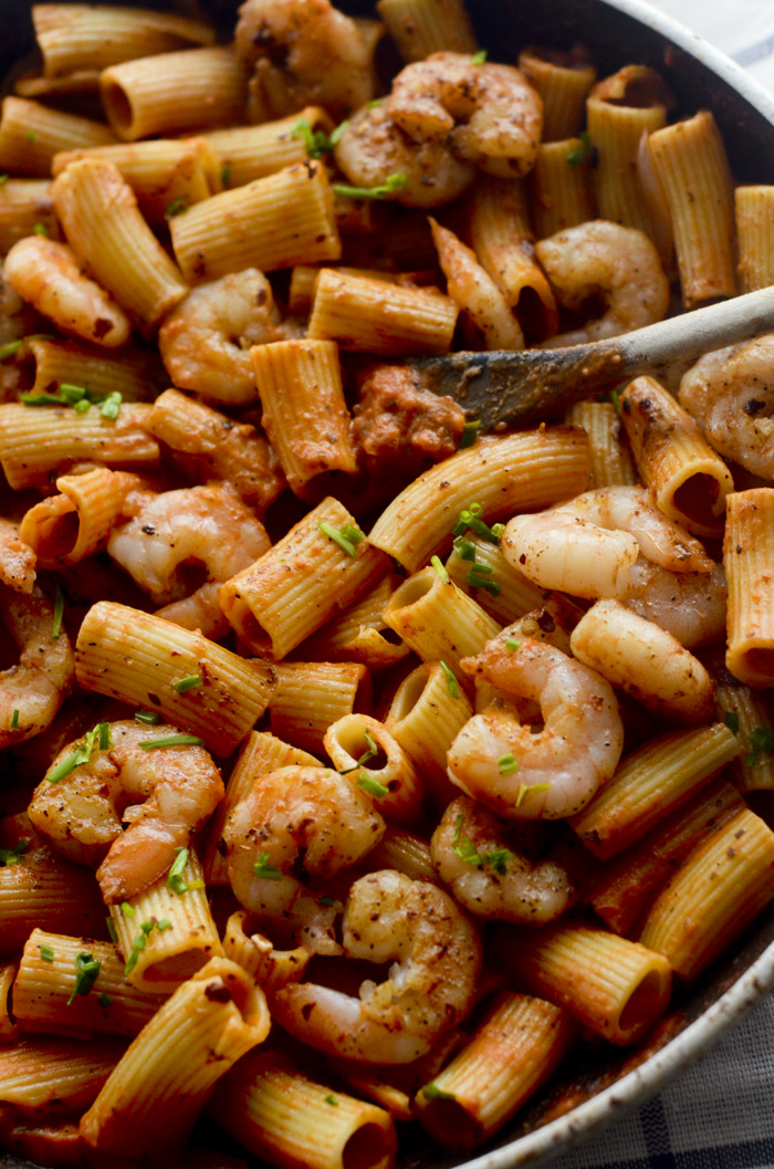 Rigatoni with Spicy Shrimp