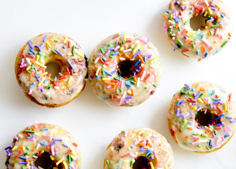 Baked Funfetti Glazed Doughnuts
