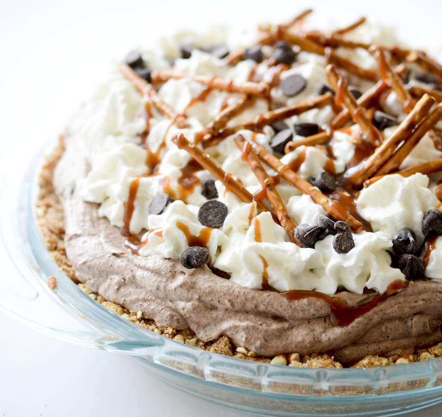 Chocolate Mousse Pie with Pretzel Crust - Recipe Diaries
