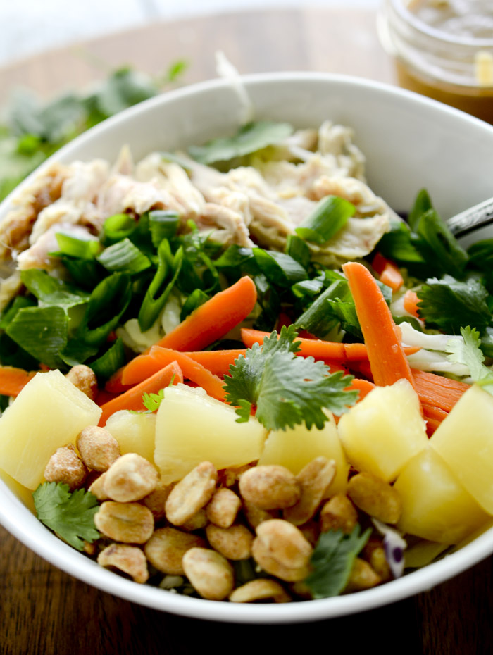 Chopped Thai Chicken Salad with Peanut Dressing 8 points per serving - Recipe Diaries