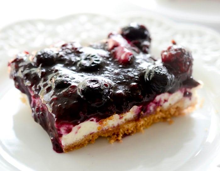 Skinny Lemon Blueberry Cheesecake Bars