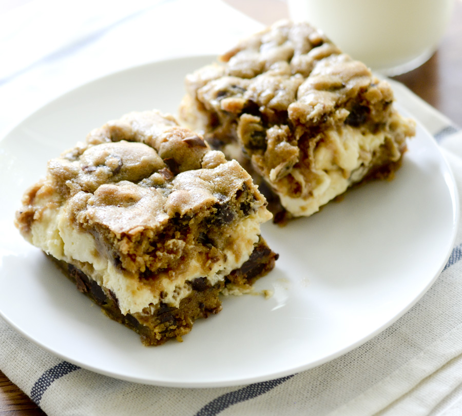 Chocolate Chip Cookie Cheesecake Bars - Recipe Diaries