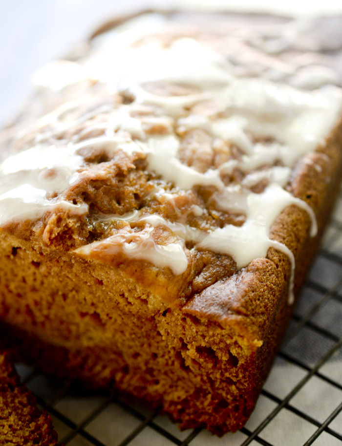 Pumpkin Bread with Honey Glaze - super moist low fat pumpkin bread! Perfect for Fall baking