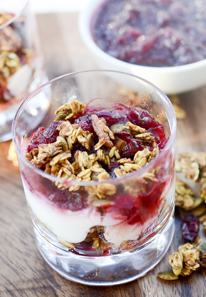 Pumpkin Granola and Orange Cranberry Yogurt Parfaits