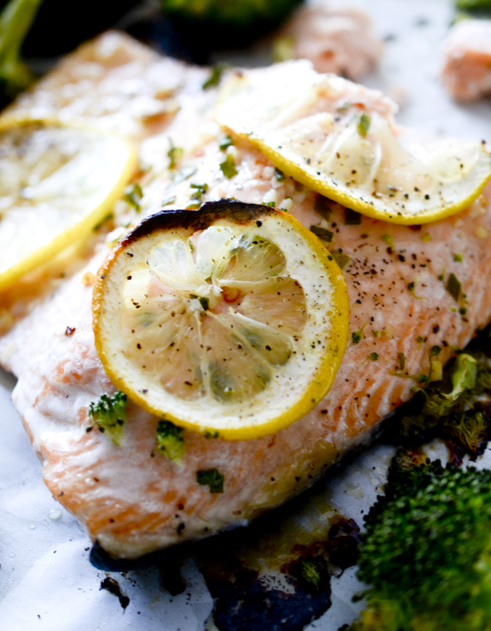 One Pan Garlic Butter Baked Salmon with Broccoli