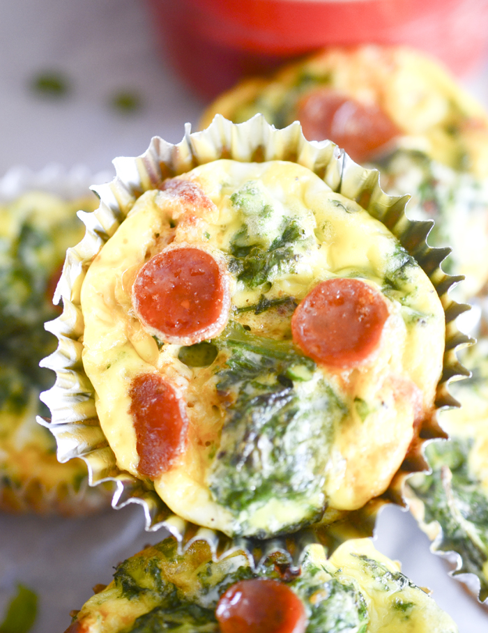 Mini Kale Fritattas with Pepperoni