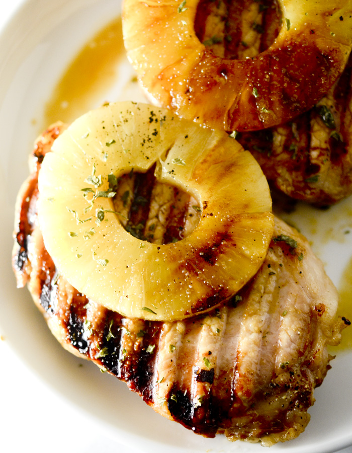 Skinny Teriyaki Pork Chops with Pineapple