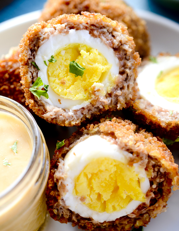 Air Fryer Scotch Eggs with Spicy Maple Aoili