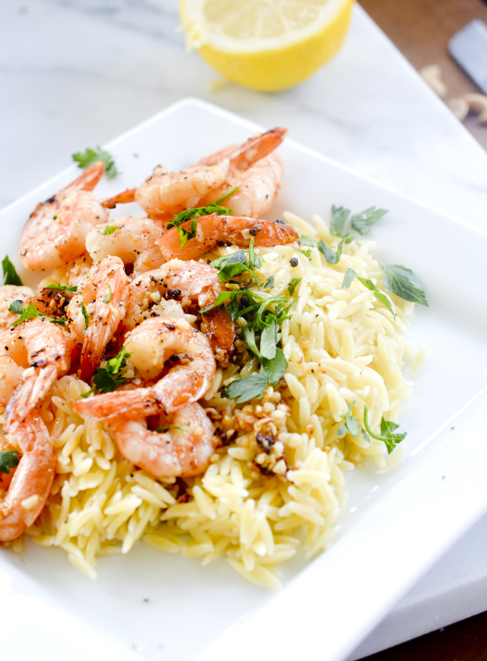 Lemon Pepper Shrimp Scampi with Orzo