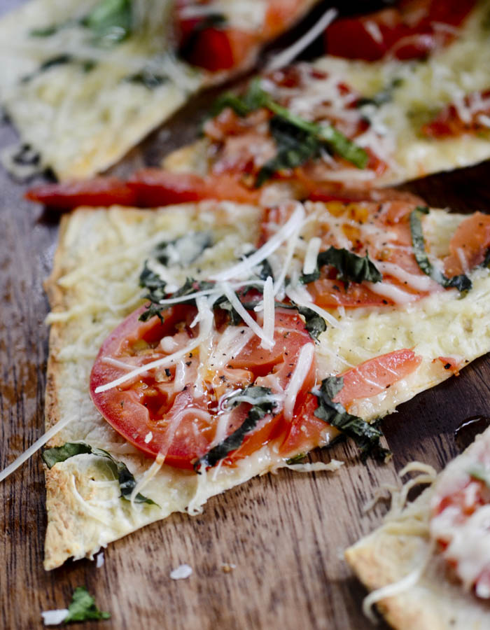Baked Parmesan Tomatoes Flatbread Pizza