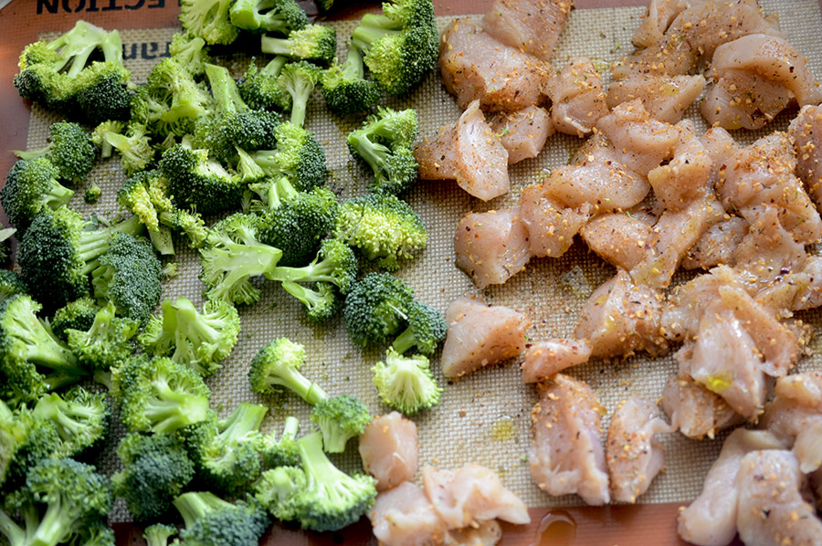 Baked Chicken, Broccoli, and Sweet Potatoes