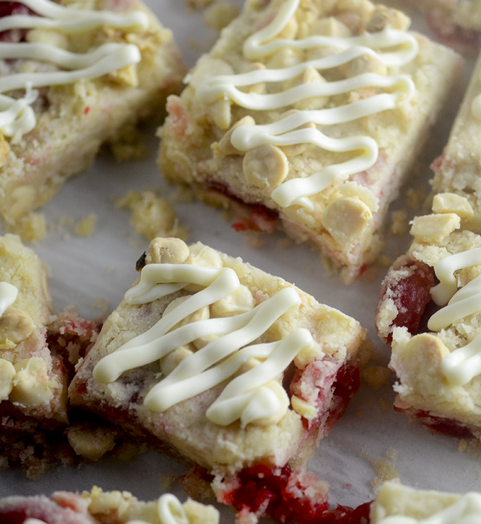 White Chocolate Cherry Shortbread Bars