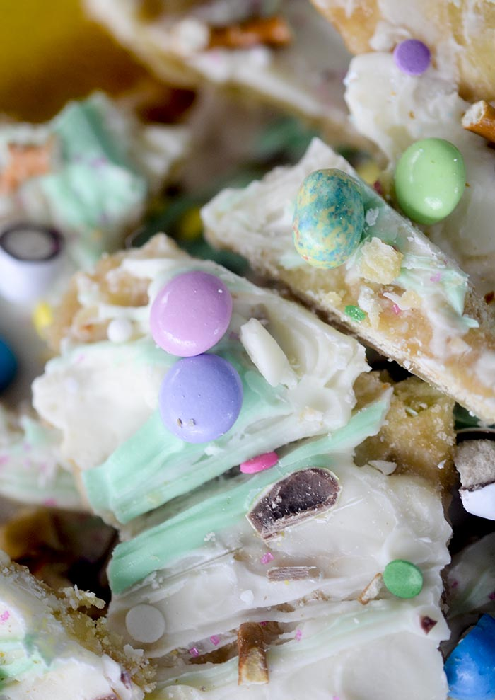 Easter Crack - your family will be asking you for this recipe over and over again! Fun and Festive Easter toffee.