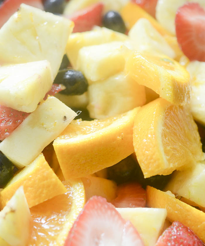 Perfect Summer Fruit Salad is a great salad to take to a Summer BBQ or cook out. The longer this salad sits in the marinade the better it gets! Will disappear in seconds!
