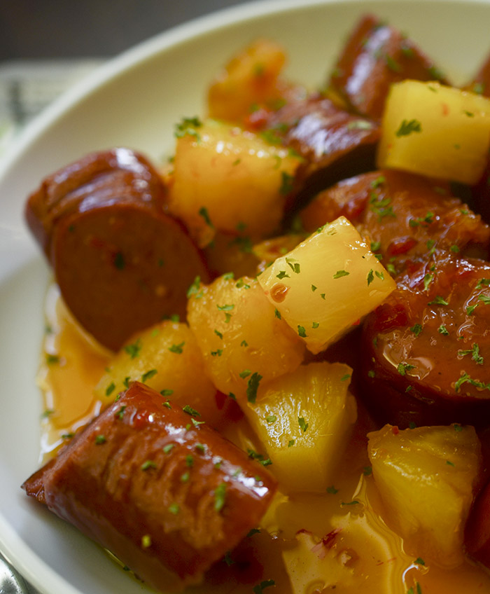 Slow Cooker Sausage and Pineapple
