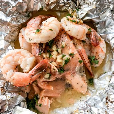 Garlic Butter Shrimp and Salmon Foil Packets