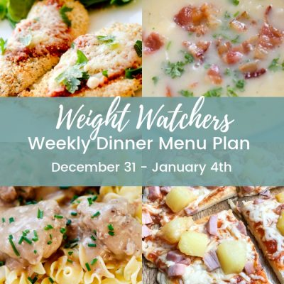 Weight Watchers Weekly Dinner Menu Plan – Dec 30th – Jan 4th
