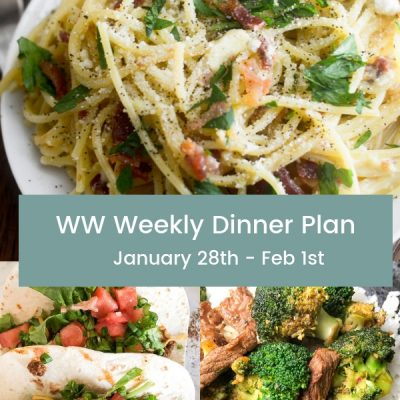WW Weekly Dinner Plan Jan 28th – Feb 1st
