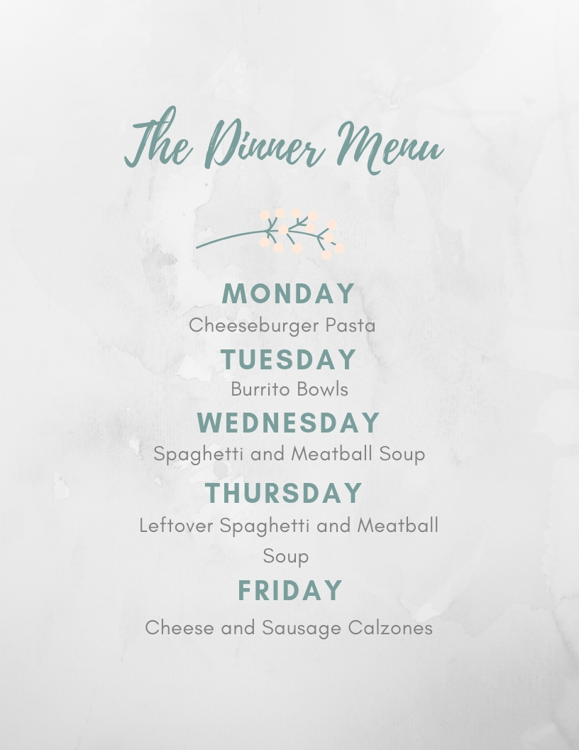 WW Weekly Dinner Plan - Jan 14th - 18th