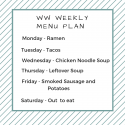 Weight Watchers Weekly Meal Plan Jan 7th – 12th