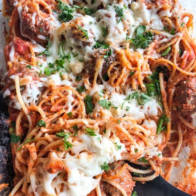 Baked Spaghetti and Meatballs Casserole