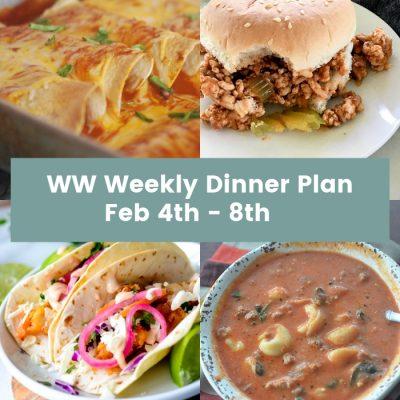 WW Weekly Dinner Plan Feb 4th – 8th