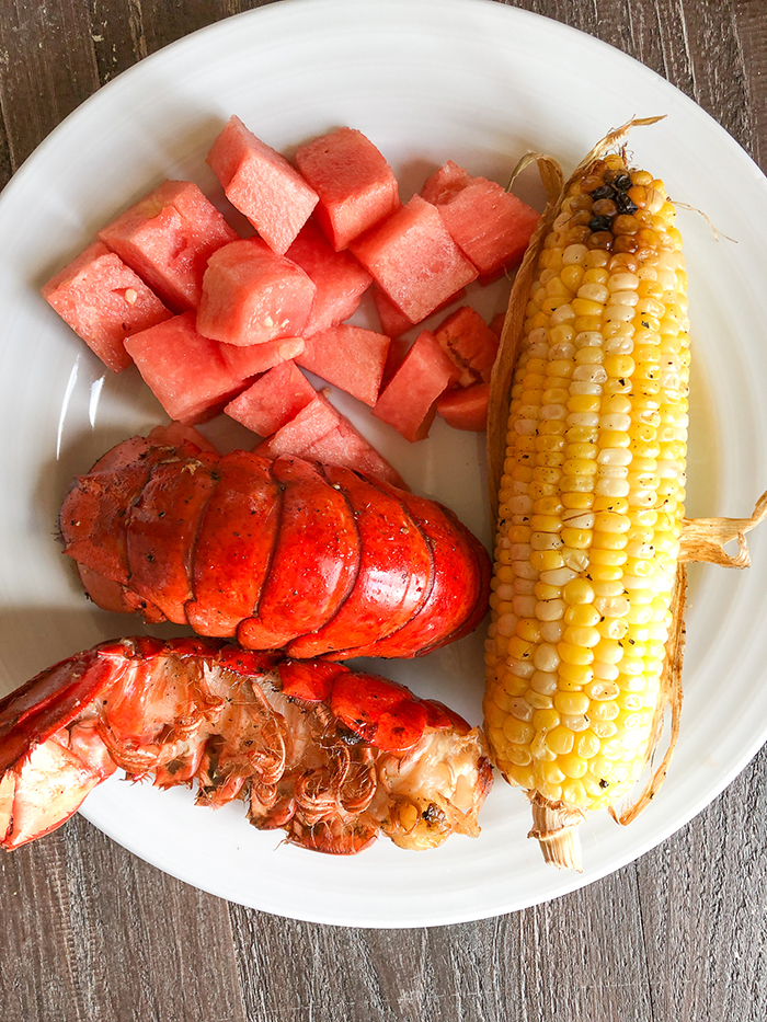 smoked lobstertail with watermelon and corn