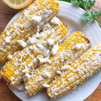 Air Fryer Corn on the Cob –  Mexican Street Corn Style!