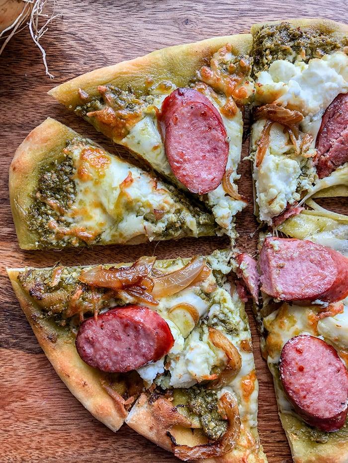 Pesto Pizza with sausage